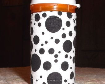 Black & White and Aqua DOTS Print Fabric QUILTED Pill BOTTLE for meds, candy, gift bag, etc