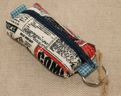 Mini box zipper pouch coin purse in retro style rocketship and inventions magazine fabric