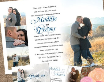 Outdoor Wedding Invite Set / 'The Madison' Photo Collage / Invite Wedding-Shower DESIGN / Printable DIY or We Print 4 You #Madison #outdoors