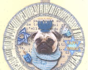 Pug | Pug Dog | Hanukkah | Jewish Holiday Ornament | Vintage Style