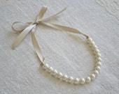 Stella: Beautiful Newborn/Infant Ivory Pearl Necklace with Champagne Ribbon - Photo Prop