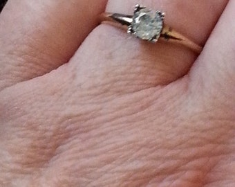 Art Deco Style Engagement Two Tone  Ring
