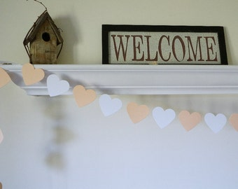 Wedding Garland, Peach Heart Garland, Peach and White Wedding Decor, Peach Bridal Shower Decorations, Peach Baby Shower Decor, 8 ft. long