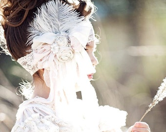 """The """"Let's Play Dress Up"""" Bow band! Vintage Lux Ivory Cream dripping bow in Pale Bridal Blush Pink Handmade Flower Headband, Crystals,"""
