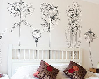 Large decorative vinyl flower wall sticker decals.