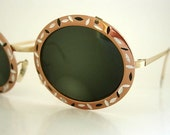 Tura Round Frames Vintage Oversized Oval Eyeglass Copper Bronze Etched Silver Black Enamel Modernist Gold Tone Bridge Arms Retro LARGER Size