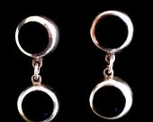 Vintage Pierced Earrings 950 Silver Onyx Dangle
