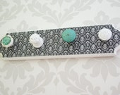Black and white damask, aqua Jewelry Display, Necklace Hanger