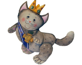 the queen of the house, cat - painted art doll