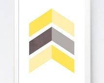 Yellow Grey Chevrons Wall Art, Gray Yellow Decor, Grey Yellow Wall Art, Gray and Yellow Nursery, Gray and Yellow Chevron, INSTANT DOWNLOAD