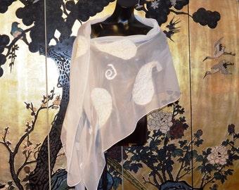 Ivory Silk Chiffon Shawl