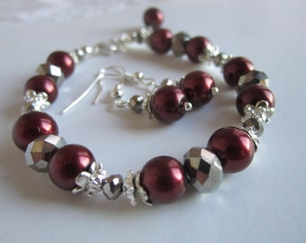 Marsala Burgundy Bridesmaid Bracelet and Earrings Set Fall Wedding Bridal Party Gift