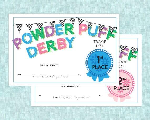 powder puff derby place award certificates by cuteanduseful