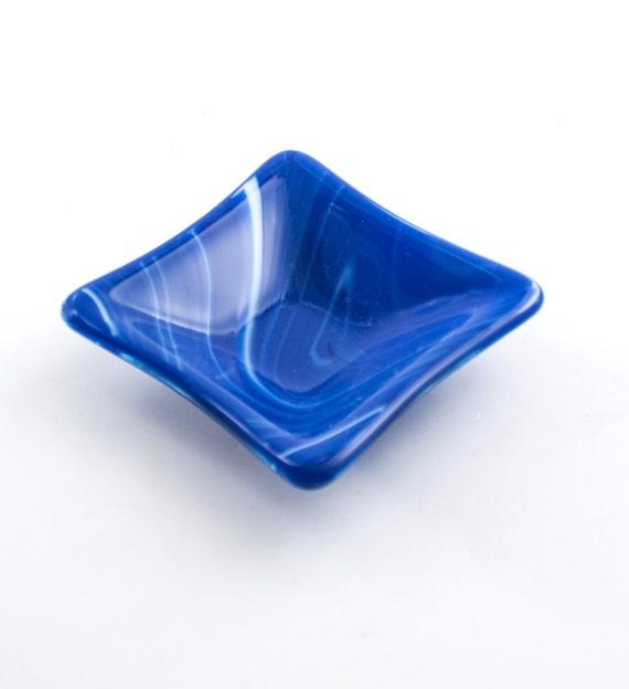 Jewelry Holder Ring Dish Fused Glass Cobalt Blue Bath