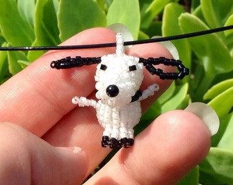 Beagle Dog Necklace, seed bead jewelry, seed bead animals, beaded beads, 3d beaded animal, charm