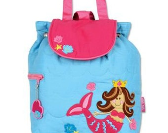 Personalized Stephen Joseph Mermaid Quilted Backpack
