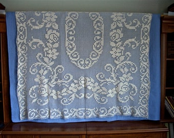 Hand Crochet Cotton Lace Tablecloth 49 in x 65 in
