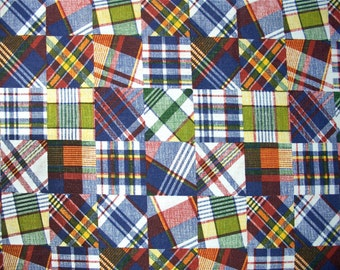 Madras Plaid Crazy Quilt Look Fabric 2 and one half yd x 44 in