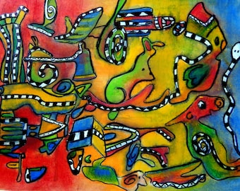 """animal art print / abstract contemporary illustration animal art decor / red blue green yellow large wall art / """"psychedelic animals"""""""