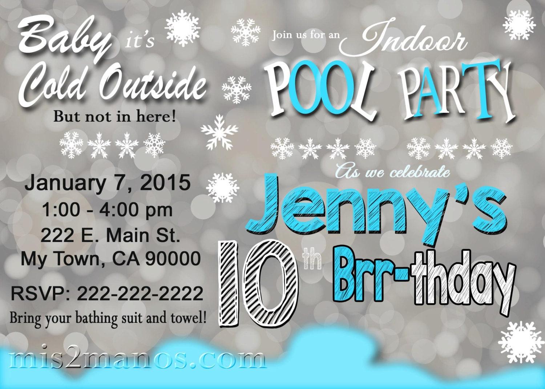 Printable WINTER POOL PARTY Invitation Winter Birthday
