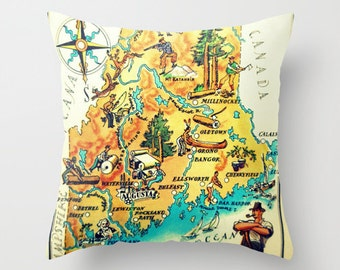 Maine Pillow Decorative Pillow, Maine State Map Pillow Cover, Map Decor, Decorative Throw Pillow, Portland Maine, Maine Map