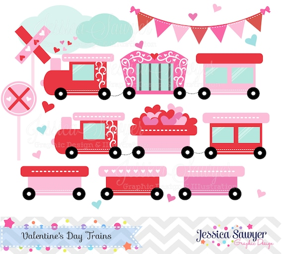 INSTANT DOWNLOAD,Valentine Train, Valentine's Day clip art , for commercial use, personal use, invites, cards, scrapbooking