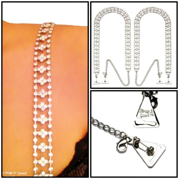 Bra Strap Dress Accessories, Royalty Style Crystal with Metal Pin Hooks-Prevents Strapless Falling