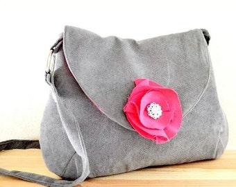 Shoulder Bag -gray suede /Sling Bag Travel Bag Evening Bag Gray Ultra Suede