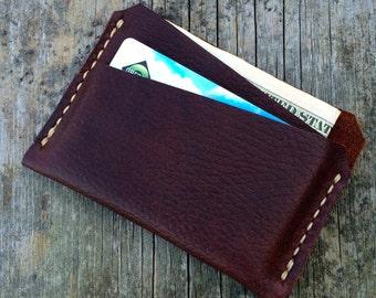 Slim mens wallet, Leather wallet, Handmade, Full grain leather