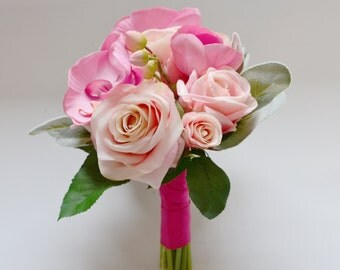 Pink Bouquet - Rose Bouquet, Orchid Bouquet, Small Bouquet, Bridesmaid Bouquet, Wedding Bouquet
