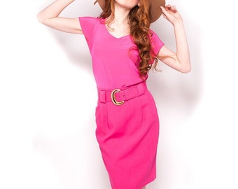 Vintage 80s Hot Pink High Waist Pencil Skirt Size Medium