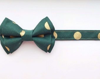 Little boy bow tie, Christmas bow tie, holiday bow tie, green bow tie, green and gold bow tie, gold polka dot bow tie, wedding bow tie