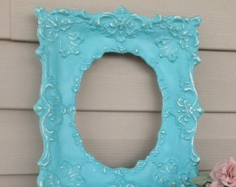 Vintage Oval Center Frame - Empty Ornate Ceramic Frame - Aqua Beach Blue Wall Decor