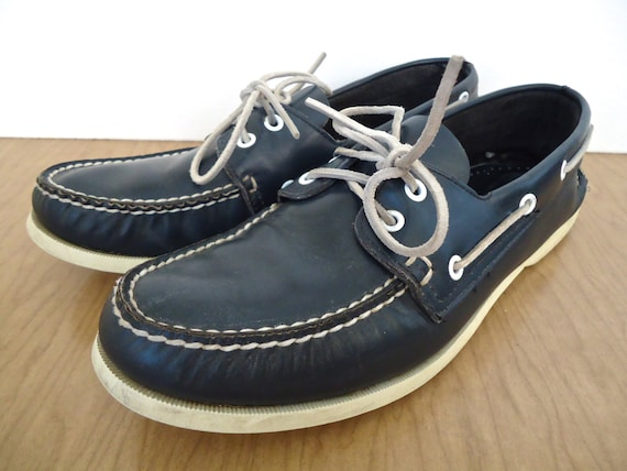 Sperry Top-sider Boat Shoes / vintage preppy blue & white deck