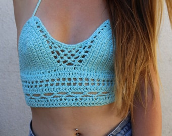 Hand Crocheted Risa Crossback Crop Top in Sea Foam more colors