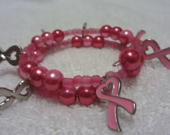 Wrapped Wire Pink Beaded Bracelet With Breast Cancer Pink Ribbon Charms #130