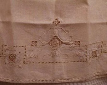 Ecru Embroidered  Linen Guest Towel/Hand Towel/ Tea Towel