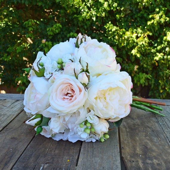Silk Bridal Bouquet In Champagne White Blush Pink With