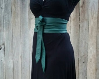 Hunter Green Wide Leather Wrap Obi Belt - Women Stunning Belt - Streetstyle belt - Urban