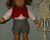 18 inch American Girl doll 4 piece shorts outfit, shorts, top, vest and newsboy cap by Project Funway on Etsy