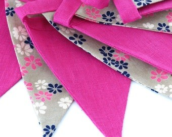 Bunting / Fabric Flag Banner / Pennant Nursery / Porch / Patio Decor / Photo Prop / Pink / Floral