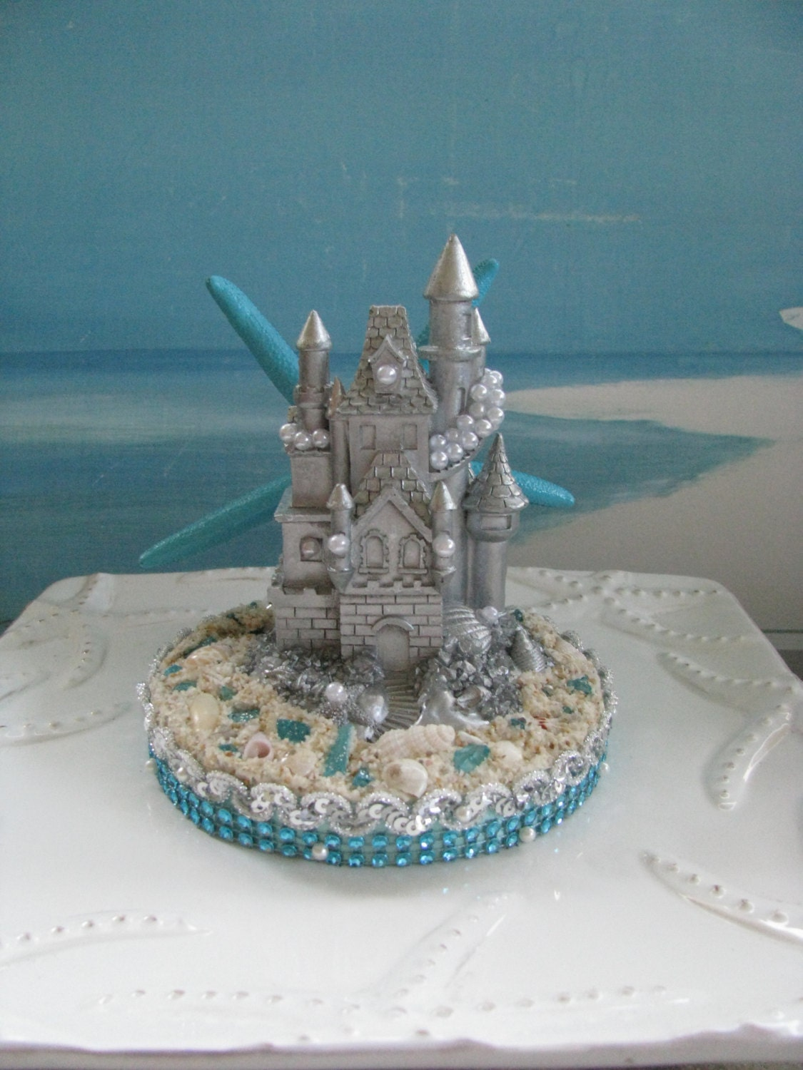 sand castle wedding cake topper silver sand castle wedding cake topper seashell wedding cake 19668