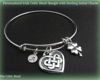Personalized Irish Celtic Heart Bangle with Sterling Silver Initial
