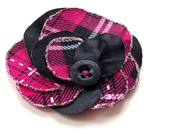 Flower brooch and hair accessory, plaided, handmade with punk style fabric, summer fashion, tartan, upcycling