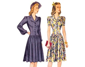 1940s Dress Pattern Simplicity 4018, Long Line Princess Seam Fitted Drop Waist Bodice, Gathered Skirt, Vintage Sewing Pattern Bust 29