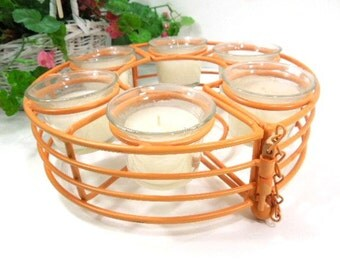 Wire Candle Centerpiece, Wire Candle Holder, 6 Votive Candles, Coral color, Vintage Centerpiece, Gift for Woman, home décor