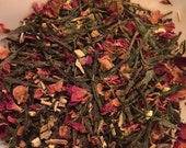 Tacie's Tea Organic Loose Leaf Green Tea with rose pedals  2 oz. Pkg. ST0038