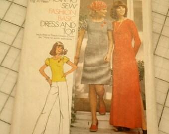 Simplicity 7041 Dress, Top, Maxi-Dress Vintage Sewing Pattern 1975