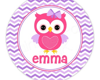 "Chevron Owl Personalized 10"" Melamine Plate, 12 oz. Bowl or 2 Piece Set 