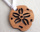 Wood Cutout Sand Dollar Pendant Necklace with Custom Knit Cording, women's necklace, wood necklace, shell necklace, oak pendant